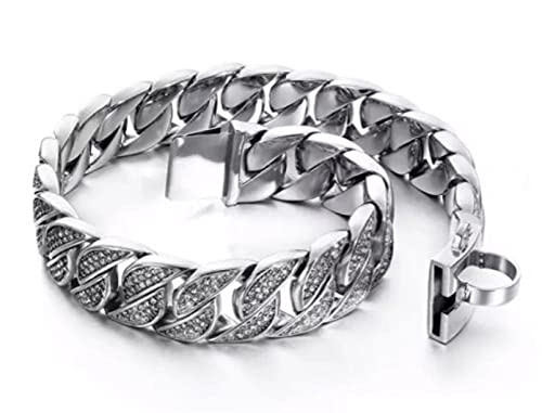 Collar de perro con diamantes de 32 mm de acero inoxidable con diamantes de imitación de metal para perro grande pitbull bulldog collar rottweiler-Silver Clear_5XL 32 mm x 75 cm