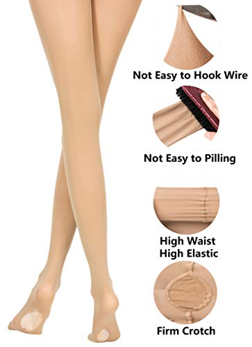 3 Sizes DANCEYOU Womens Full Stretch Convertible Girls Body Tights for Dance Performances Tan