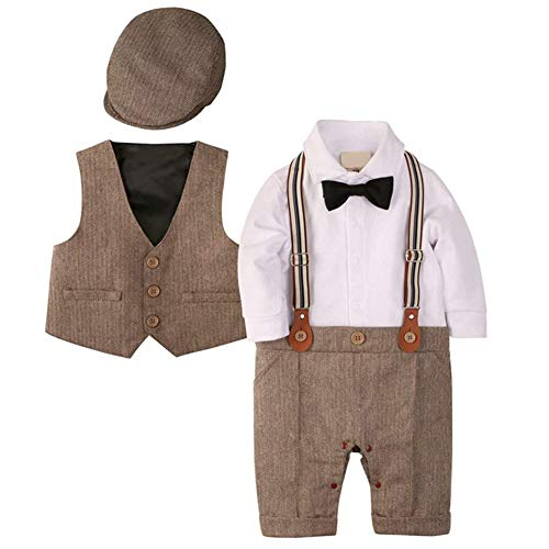 Lucky kids ベビー服 フォーマル ロンパース スーツ 男の子 赤ちゃん お宮参り 祝い着 子供服 結婚式 入園式 紳士服 帽子付き ブラウン 80
