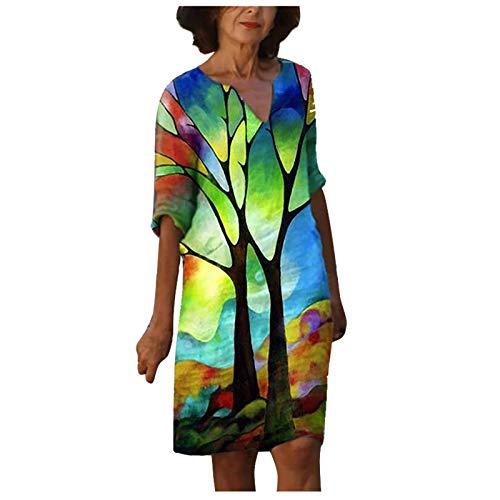 Damen Kleid Sommerkleider V-Ausschnitt Freizeitkleider,Leinenkleid Blusenkleid Damen Retro Style Print Shirt Baumwolle Und Leinen Lässig Plus Größe Lose Tunika Tuchkleid