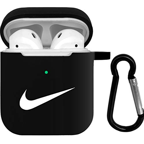 Airpods Case,Airpod Silicone Skin Cases Cover with Keychain Compatible with Airpods 2 & 1 (Black)