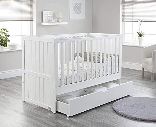 Modern and Simple Whole Crib - Converted into a cot with Mattress and Drawers Height Adjustable Snooze Baby,White