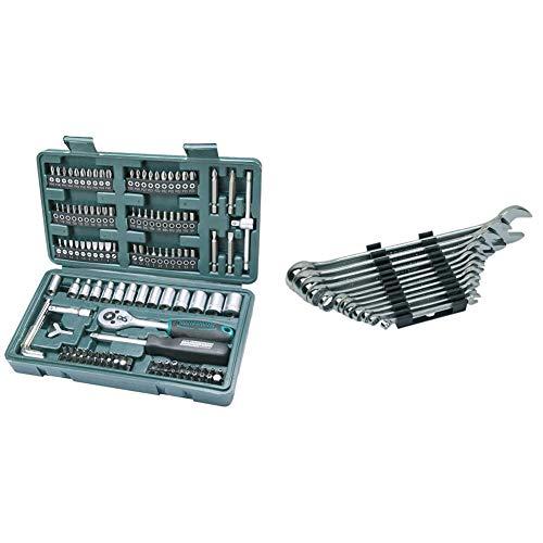 Mannesmann M29166 - Set chiavi a tubo, a cricchetto, In valigetta di plastica, 130 pezzi & M19652 - Set chiavi combinate