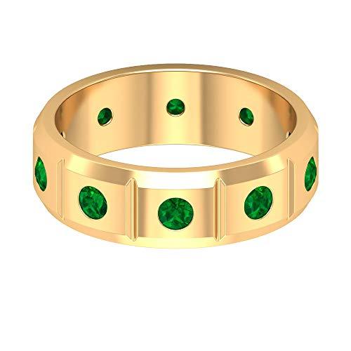 Einzigartiger Herrenring, May-Geburtsstein-Ring, 0,6 Karat runder Form, künstlicher Smaragdring, Bräutigam-Verlobungsband, passender Paarring, Jahrestagsring für ihn, 14K Gelbes Gold, Size:EU 49