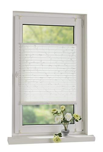 Garduna Print | Plissee mit Druck | Weiss/Weiss 40cm | verspannt - Smartfix - Klemmfix - ohne Bohren - viele Größen - Sichtschutz - lichtdurchlässig