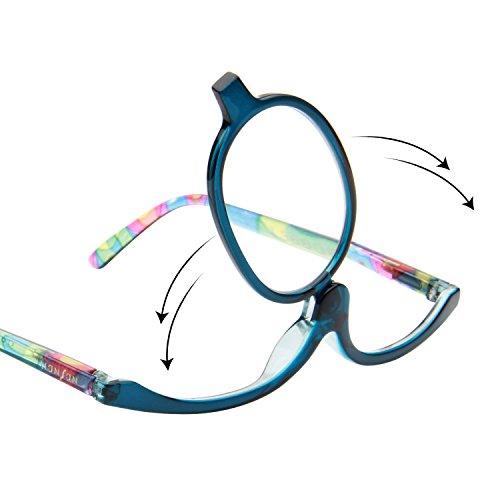 Make-up bril, LianSan Designer Vergrootglas met Flip Lens Make Up Aid Oogkleding voor vrouwen dames L3660 +1.50 Blauw