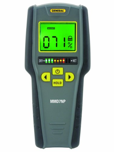 """General Tools MMD7NP Pinless, Non-Invasive, Non-Marring, Digital Moisture Meter, Water Leak Detector, Moisture Testerup To ¾"""" (19mm) Deep, Backlit LCD Screen, Visual/Audible Alarms"""