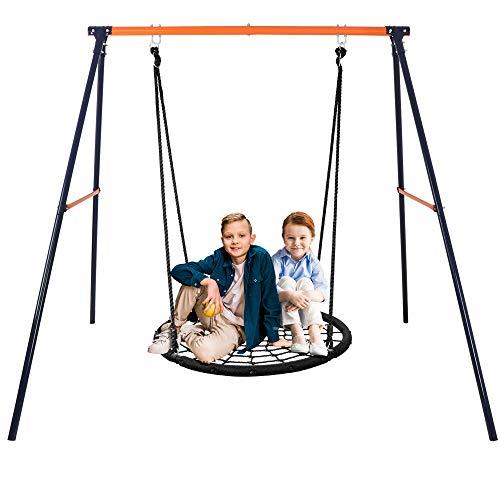 """Super Deal 48"""" Combo Swing Set - 48"""" Web Tree Swing + Heavy Duty All-Steel All Weather A-Frame Swing Frame Set"""