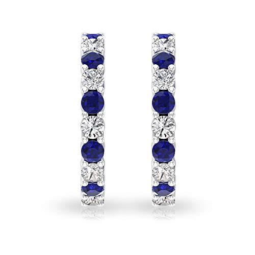 Pendientes de aro de oro de zafiro azul de 0,5 quilates, 0,3 quilates con diamantes certificados SGL para mujer, pendientes de diamante de claridad de color HI-SI con clip azul