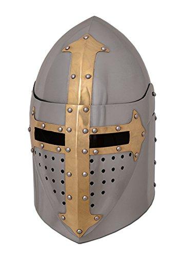 Battle-Merchant Topfhelm mit klappbarem Visier, 1,6 mm Stahl, poliert Mittelalter Helm