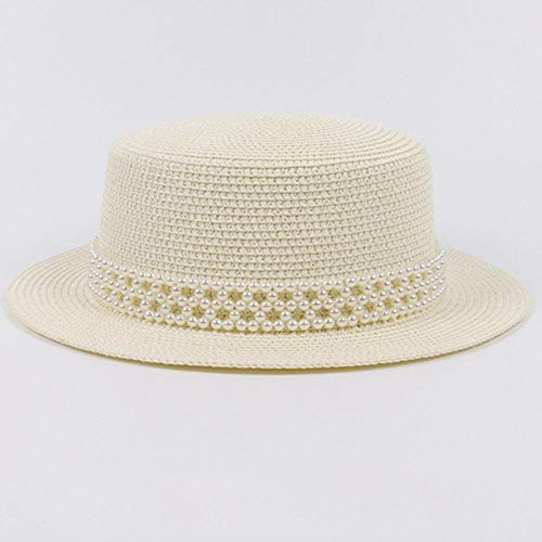 Sun Hats Women Summer Hat Ladies Pearl Band Flat Top Boater Hat Fashion Panama Straw Hat Fedoras Women Floppy Beach Sun Hat 56-58Cmmsize Ivory
