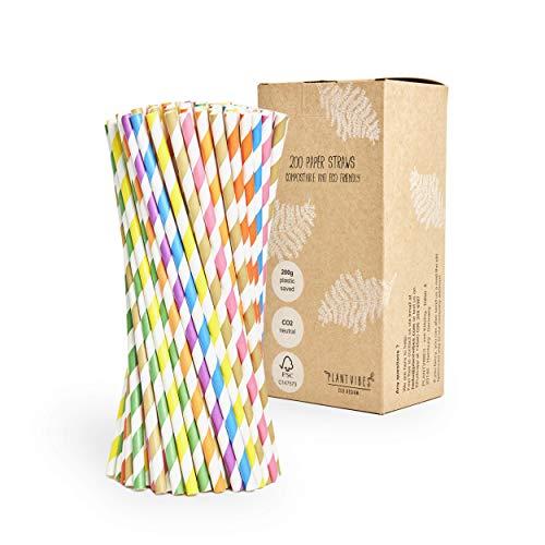 Plantvibes Papier-Strohhalme, Trinkhalme mit Bio-Beschichtung, wasserresistent & farbecht, 100% kompostierbar & CO2 neutral - 200 Stück Einweg-Strohhalme in bunt gestreift - frei von Plastik