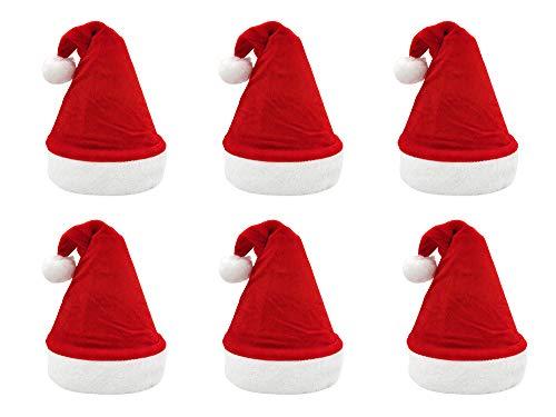 Pack 6 Gorro Papá Noel de Navidad de Santa Claus de Terciopelo de Felpe Suave Sombreros Navideño de Invierno para Fiesta Festiva de Año Nuevo para Adultos y Niños Unisex (FYQ-317 ROJO)