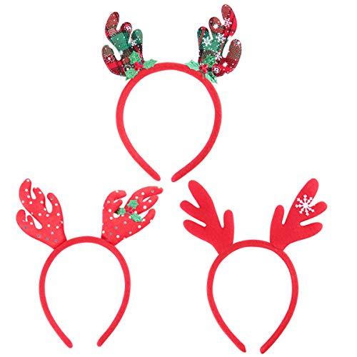 YeahiBaby 12 unids Diadema de Navidad Diadema navideña Reno Sombrero de Santa Claus decoración de Navidad (patrón Aleatorio)