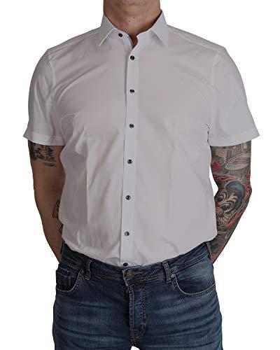 Marvelis Body Fit Hemd Halbarm Weiß mit Kontrastknöpfen Bügelleicht 100% Baumwolle, Größe:38