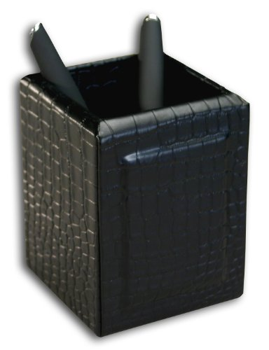 Dacasso Black Crocodile Embossed Leather Pencil Cup