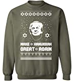 Ugly Christmas Crewneck Sweatshirt Make Hanukkah Great Xmas Trump Christmas Sweater Militarygreen S