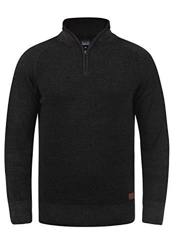 Blend Ganbolf Herren Winter Pullover Strickpullover Troyer Grobstrick mit Reißverschluss, Größe:S, Farbe:Charcoal (70818)
