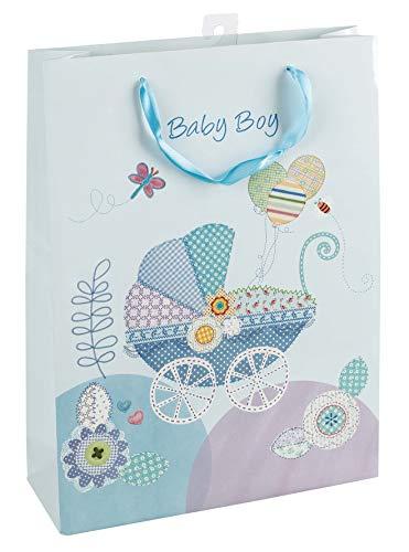 Idena 30209 - Geschenktasche Baby Boy, Größe 34,5 x 25 x 8,5 cm, Geburt, Baby Party, Geschenk, Geschenkverpackung, Tragetasche, Geschenktüte