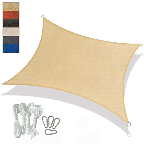 YFFS Sun Shade Sail Garden White Impermeable UV Sun Protective Screen Refugio Toldo Gazebo Canopy Pergola Patio Exterior Interior para Jardín con 4 Cuerdas (3m x 4m,Beige)