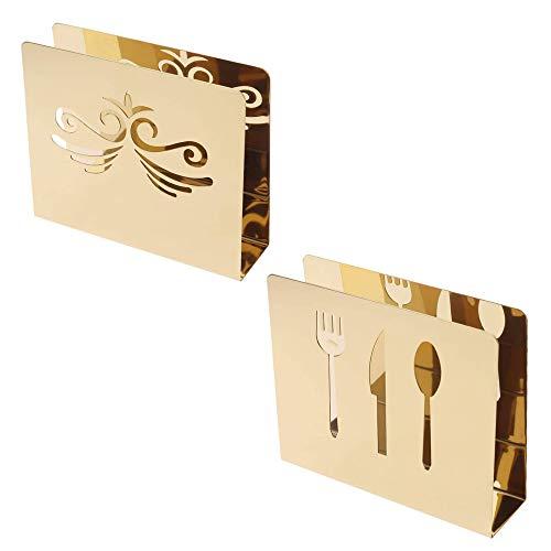 N\A 2 Pezzi Supporto per Tovaglioli con Decoro Posate, Dispenser Tovaglioli da Tavola in Metallo, Moderno Porta Tovaglioli Rettangolari, Carta Tessuto Rack in Acciaio Inox 430, Oro