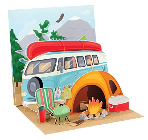 PopShots Studios Pop Up 3D Karte Geburtstag Grußkarte Zelt Camping Natur 13x13cm