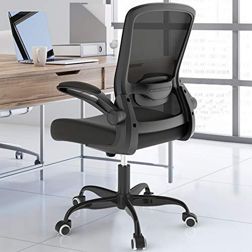 BIFMA Bürostuhl, ergonomischer Schreibtischstuhl mit verstellbarer Lendenwirbelstütze, Gaming-Stuhl, hohe Rückenlehne, Netzstoff, Computerstuhl mit hochklappbaren Armlehnen, Chefsessel, schwarz
