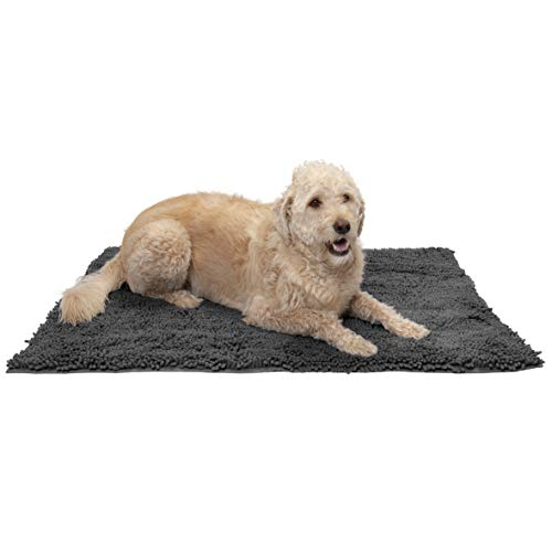Furhaven Pet Dog Mat | Muddy Paws Absorbent Chenille Shammy Bath Towel & Food Mat Rug for Dogs & Cats, Charcoal (Gray), Extra Large