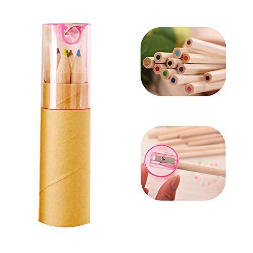 Children's colored short wooden pencils, 12 colors in tubes; soft core pre-ground natural wood pencils (unpainted)…
