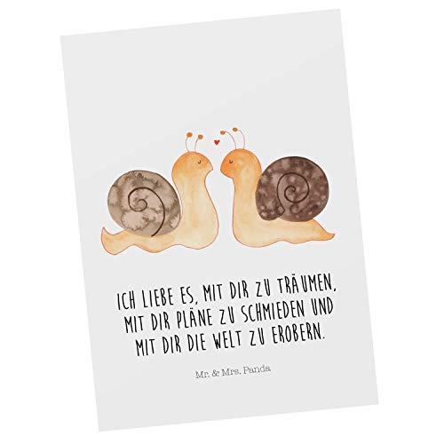 Mr. & Mrs. Panda Grußkarte, Einladung, Postkarte Schnecken Liebe mit Spruch - Farbe Weiß