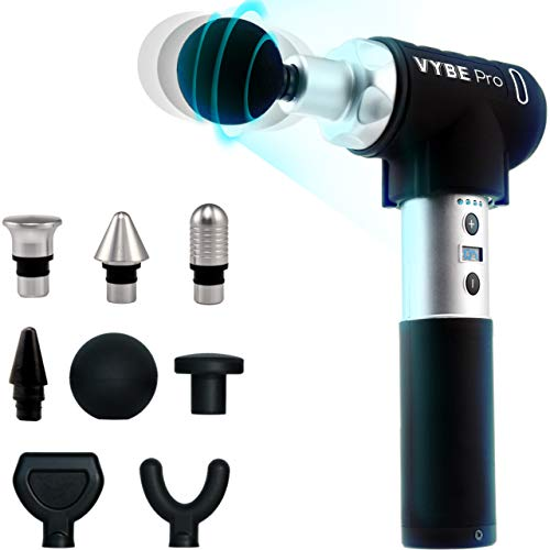 VYBE Percussion Massage Gun - Pro Model - Massager for Deep Tissue Muscle - for Pain Relief - 9 Speeds, 8 Attachments, Quiet, Portable, Electric and Handheld