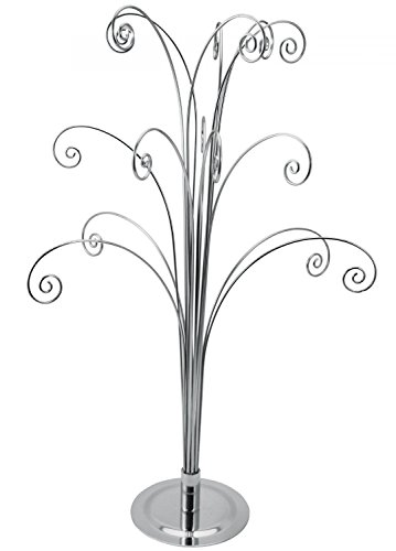 Creative Hobbies 20 Inch Tall Ornament Display Tree, Bright Silver Chrome Plated, Holds 15 Ornaments