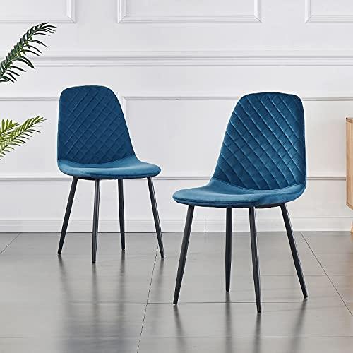 JaHECOME Lot de 2 chaises de Salle à Manger Style scandinave Vintage en Velours synthétique avec Dossier et Pieds en Acier Bleu
