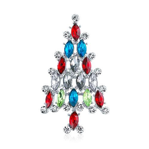 Bling Jewelry Urlaub Marquise Kristall Rot Blau Grün Mode Große Aussage Weihnachtsbaum Brosche Pin Für Frauen Silber Vergoldet