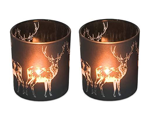 EDZARD 2er Set Teelichthalter Hirsch, schwarzes Glas, Höhe 8 cm