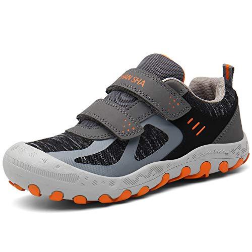 Mishansha Zapatos de Senderismo Niños y Niñas Zapatillas de Deporte Zapatos de Trekking Outdoor Antideslizante Transpirable Sneakers, Gris, 35 EU