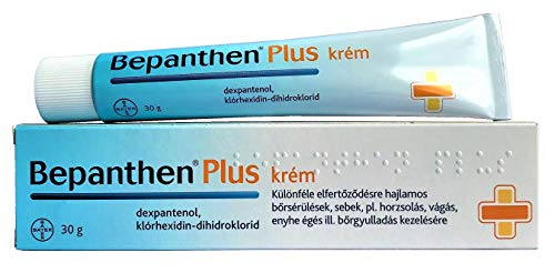 BEPANTHEN PLUS Cream 30g tube - 5% Dex-Panthenolum 0.5% Chlorhexidini Dihydrochloridum Skin Health Support Treatment - For infection of wounds such as abrasions, cuts, cracks, fissures, burns and skin irritations. Damage and small skin wounds after surgery