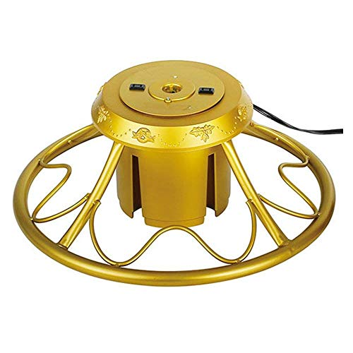 Home Heritage Versatile Electric Rotating Stand Base for Artificial Christmas Trees up to 9 Feet Tall, Gold