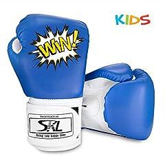 SKL Kids Bokshandschoenen, Pu Kids Kids Cartoon Sparring Bokshandschoenen Training Leeftijd 5-12 jaar (Blauw)*