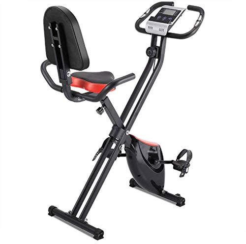 NOBUNO Spinning Bike Folding Exercise Bike,Foldable Magnetic Upright Exercise Bike with 8 Resistance Levels,Heart Rate,Speed,Time,Distance,Calorie Monitor,Fitness Stationary Exercize Bike