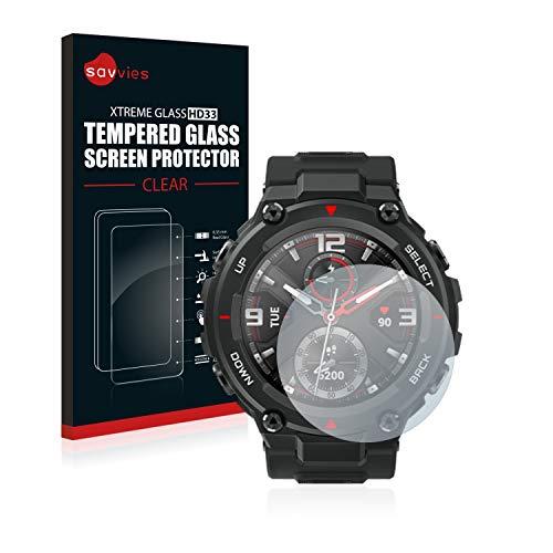 savvies Cristal Templado Compatible con Huami Amazfit T-Rex Protector Pantalla Vidrio Proteccion 9H Pelicula Anti-Huellas