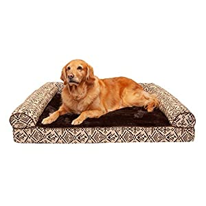 Furhaven Pet Dog Bed – Cooling Gel Memory Foam Plush Kilim Southwest Home Decor Traditional Sofa-Style Living Room Couch Pet Bed with Removable Cover for Dogs and Cats, Desert Brown, Jumbo