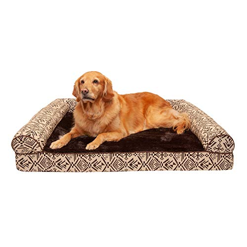 Furhaven Pet Dog Bed - Cooling Gel Memory Foam Plush Kilim Southwest Home Decor Traditional Sofa-Style Living Room Couch Pet Bed w/Removable Cover for Dogs & Cats, Desert Brown, Jumbo