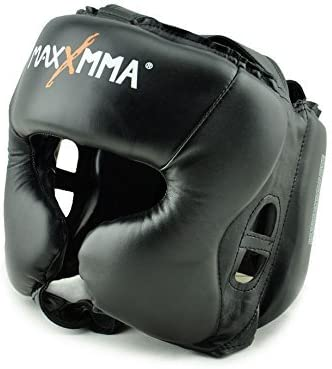 MaxxMMA Headgear Black L/XL Boxing MMA Training Kickboxing Sparring Karate Taekwondo