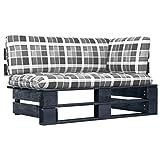 Gawany Sofá de Esquina de palets jardín Negro Madera Pino impregnada 9# para el Interior como el Exterior Sofa de Palets Conjunto de sofás