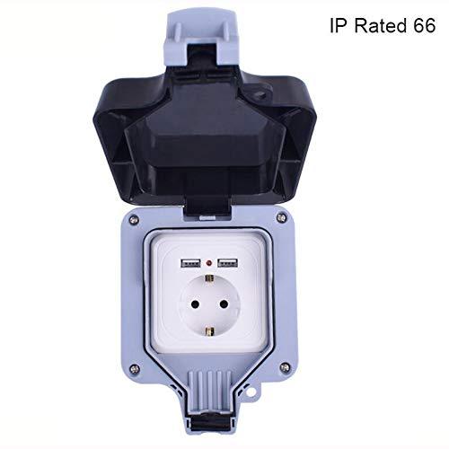 IP66 Impermeable Impermeable Al aire libre 16A Enchufe de pared de la UE con puerto de carga USB dual Salida 2.4A (Plug Type : EU, Rated Voltage : 110 250V)