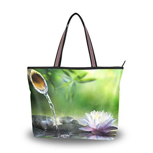 Mnsruu - Bolso de mano con cremallera para mujer, tamaño grande, bolsa de la compra casual, L (piedras de masaje de spa y nenúfar en el agua, color, talla Large