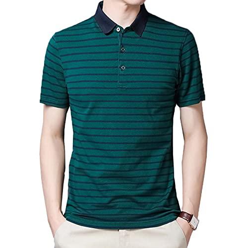 Camiseta de Manga Corta con Solapa de Verano Camisa de Fondo para Hombre Polo a Rayas de algodón para Hombre Casual