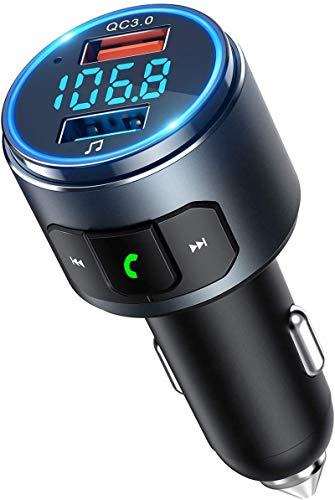 OMORC VicTsing FM Transmitter Auto Bluetooth, QC3.0 Auto Ladegerät V5.0 Bluetooth Adapter Auto, KFZ Radio Bluetooth Transmitter Freisprecheinrichtung mit Siri Google Assistant