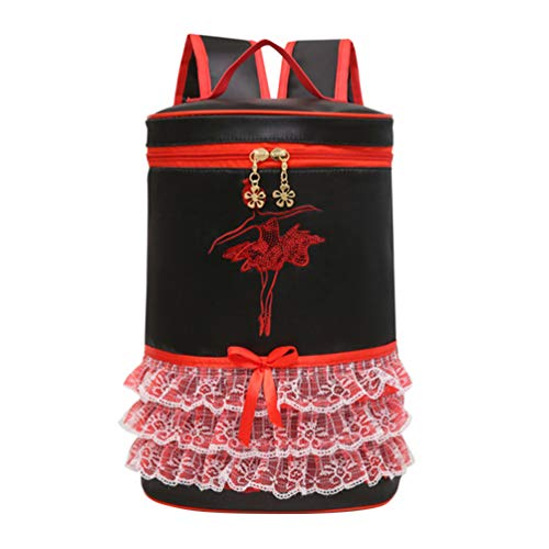 TENDYCOCO Girls Backpack Cute Lace Dancing Daypack School Travel Casual Rucksack for Kids-Black
